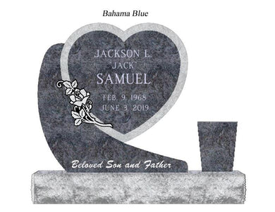 Fully customizable premium black granite hanging heart companion monument headstone for grave site made by Nelson Monument Company