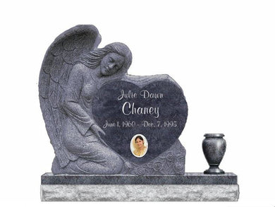 Fully customizable Bahama Blue granite Sculpted Angel Heart Monument headstone made for grave site by Nelson Monument Company