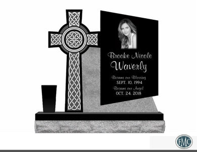 Fully customizable granite Contemporary Celtic Cross Trapezoid Single Upright Monument headstone for grave site made by Nelson Monument Company