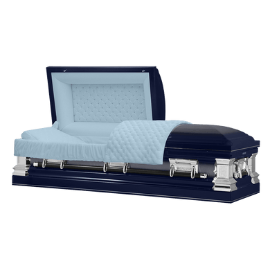 Era Series | Dark Blue Stainless Steel Casket with Light Blue Interior - Titan Casket