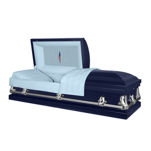 Orion Series | Dark Blue Casket with Light Blue Interior - Titan Casket