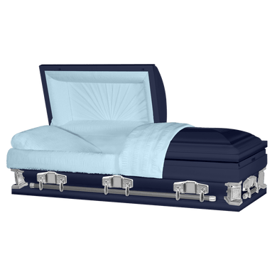 Jupiter XL | Dark Blue Steel Oversize Casket with Light Blue Interior | 28