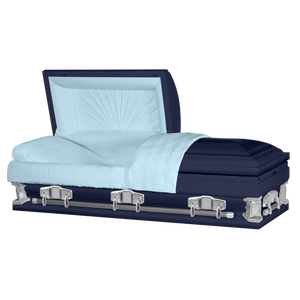 "Jupiter XL | Dark Blue Steel Oversize Casket with Light Blue Interior | 28"", 29"", 33"", 36"" - Titan Casket"