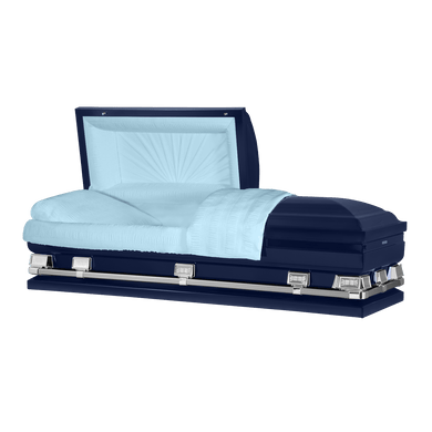 Atlas XL | Dark Blue Steel Oversize Casket with Light Blue Interior | 150+ Head Panel Options | 28