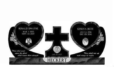 Fully customizable premium double hanging heart companion monument headstone for grave site made by Nelson Monument Company
