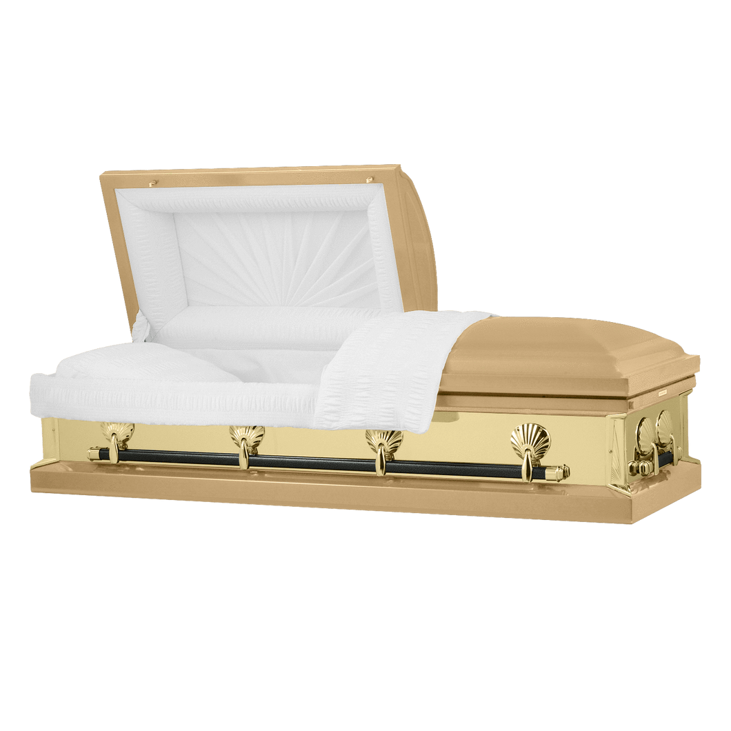 Titan Reflections Series | Gold Steel Casket with White Interior - Titan Casket