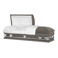 "Load image into Gallery viewer, Titan Atlas XL | Gunmetal Steel Oversize Casket with White Interior | 150+ Head Panel Options | 28"", 29"", 33"", 36"" - Titan Casket"