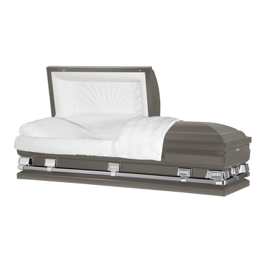 Atlas XL | Gunmetal Steel Oversize Casket with White Interior | 150+ Head Panel Options | 28
