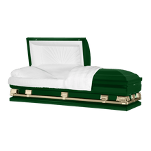 "Load image into Gallery viewer, Atlas XL | Hunter Green Steel Oversize Casket with White Interior | 150+ Head Panel Options | 28"", 29"", 33"", 36"" - Titan Casket"