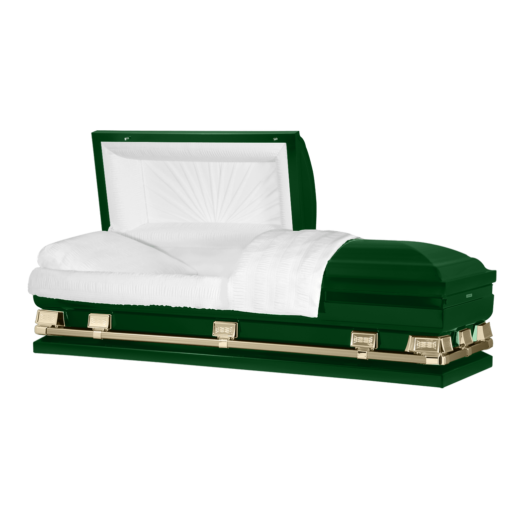 Titan Atlas XL | Hunter Green Steel Oversize Casket with White Interior | 150+ Head Panel Options | 28