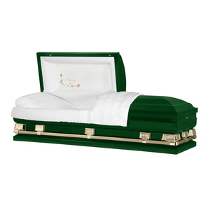 "Titan Atlas XL | Hunter Green Steel Oversize Casket with White Interior | 150+ Head Panel Options | 28"", 29"", 33"", 36"" - Titan Casket"