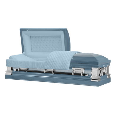 Era Series | Light Blue Stainless Steel Casket with Light Blue Interior - Titan Casket
