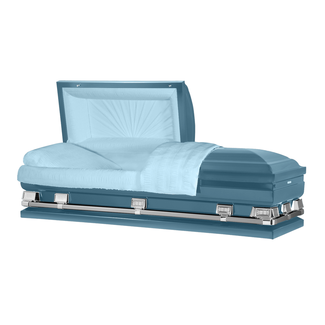 Atlas XL | Light Blue Steel Oversize Casket with Light Blue Interior | 150+ Head Panel Options | 28