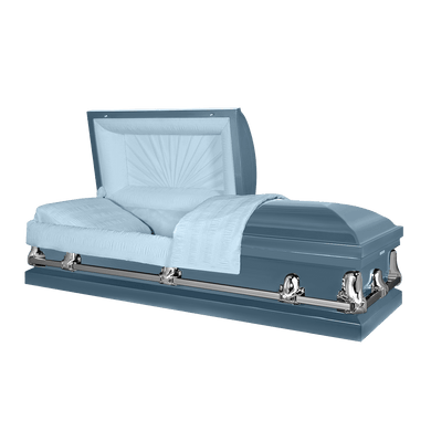 Orion Series | Light Blue Steel Casket with Light Blue Interior - Titan Casket