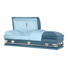 "Load image into Gallery viewer, Atlas XL | Light Blue Steel Oversize Casket with Light Blue Interior | 150+ Head Panel Options | 28"", 29"", 33"", 36"" - Titan Casket"