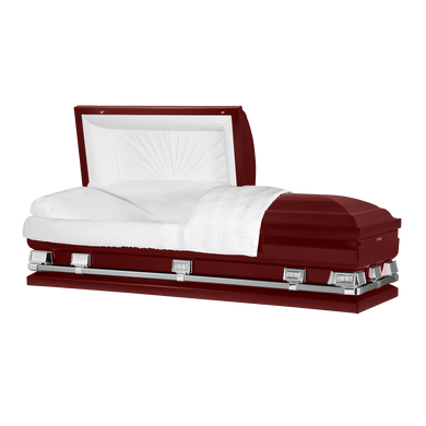 Atlas XL | Maroon Steel Oversize Casket with White Interior | 150+ Head Panel Options | 28