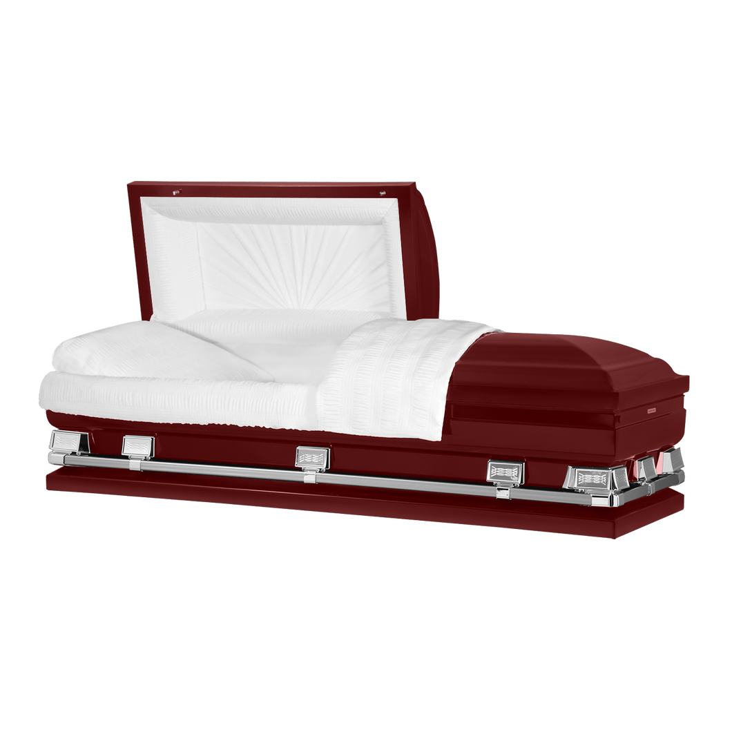 Titan Atlas XL | Maroon Steel Oversize Casket with White Interior | 150+ Head Panel Options | 28