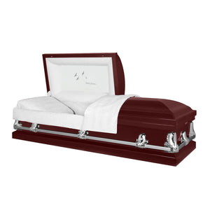 Orion Series | Maroon Steel Casket with White Interior - Titan Casket