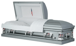 Harbor Caskets - The Harbor Military Steel. Casket in Silver - Comes in Rubber Gasket and 20-Gauge or 18-Gauge. Casket has a White Crepe Interior, Sculpted Hardware, and a Flag or Eagle Imagery available.