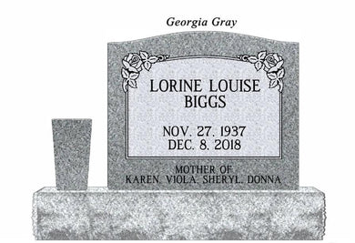 Fully customizable Georgia Grey granite Traditional Single Upright Cemetery Monument  headstone made for grave site by Nelson Monument Company
