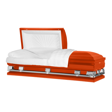 Atlas XL | Orange Steel Oversize Casket with White Interior | 150+ Head Panel Options | 28