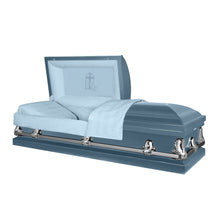 Load image into Gallery viewer, Titan Orion Series | Light Blue Steel Casket with Light Blue Interior - Titan Casket