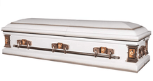 Load image into Gallery viewer, Titan Paris Rose | White Steel Casket with Pink Interior - Titan Casket