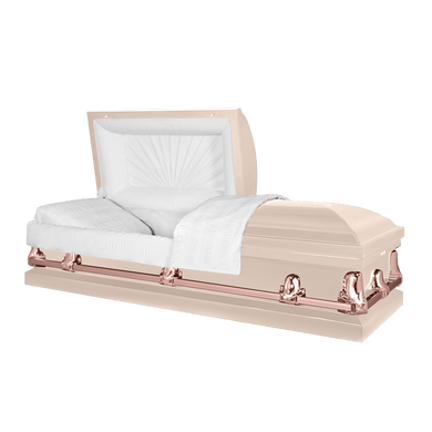 Orion Series | Pink & Rose Gold Steel Casket with White Interior - Titan Casket