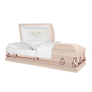 Titan Orion Series | Pink & Rose Gold Steel Casket with White Interior - Titan Casket