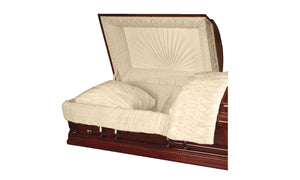 Harbor Caskets - The Harbor Poplar II. Solid Poplar Hardwood Casket - Comes with Accent Beading, a Gloss Finish, Swing Bars, a Rosetan Crepe Interior, and an Adjustable Bed.