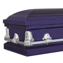 Load image into Gallery viewer, Titan Orion Series Steel Casket Royal Purple End Angle