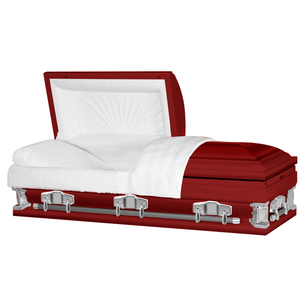 Titan Jupiter XL | Red Steel Oversize Casket with White Interior | 28