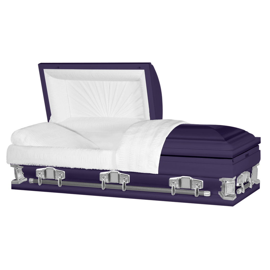 Titan Jupiter XL | Royal Purple Steel Oversize Casket with White Interior | 28