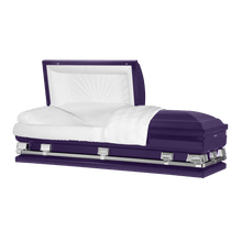 "Load image into Gallery viewer, Titan Atlas XL | Royal Purple Steel Oversize Casket with White Interior | 150+ Head Panel Options | 28"", 29"", 33"", 36"", 40"", 44"" - Titan Casket"