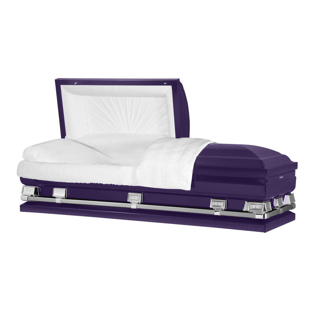 Titan Atlas XL | Royal Purple Steel Oversize Casket with White Interior | 150+ Head Panel Options | 28