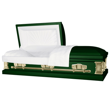 Titan Satin Series | Hunter Green Steel Casket with White Interior - Titan Casket