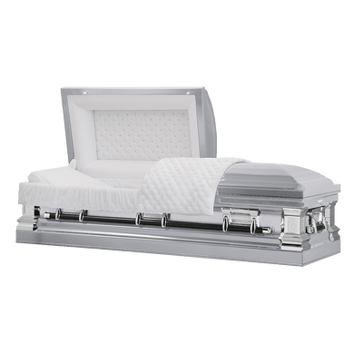 Titan Era Series | Silver Stainless Steel Casket with White Interior - Titan Casket