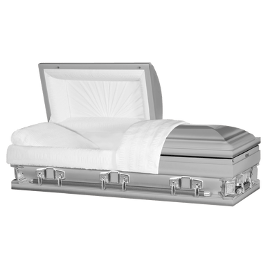 Titan Jupiter XL | Silver Steel Oversize Casket with White Interior | 28