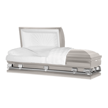 "Load image into Gallery viewer, Titan Atlas XL | Silver Steel Oversize Casket with White Interior | 150+ Head Panel Options | 28"", 29"", 33"", 36"" - Titan Casket"