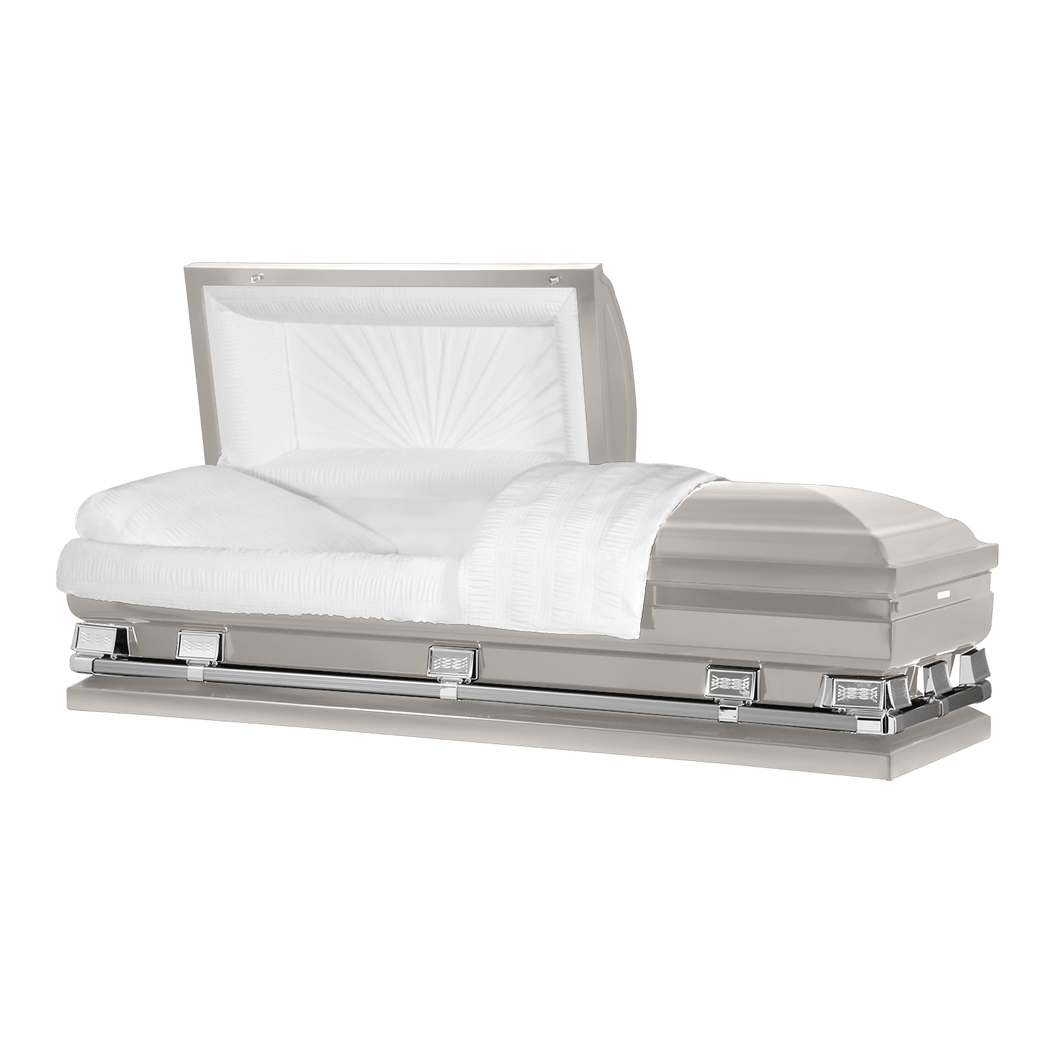 Titan Atlas XL | Silver Steel Oversize Casket with White Interior | 150+ Head Panel Options | 28