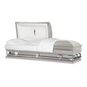 "Titan Atlas XL | Silver Steel Oversize Casket with White Interior | 150+ Head Panel Options | 28"", 29"", 33"", 36"" - Titan Casket"