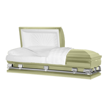 "Load image into Gallery viewer, Titan Atlas XL | Soft Yellow Steel Oversize Casket with White Interior | 150+ Head Panel Options | 28"", 29"", 33"", 36"" - Titan Casket"