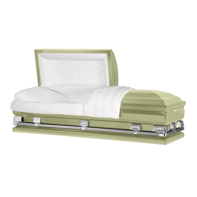 Atlas XL | Soft Yellow Steel Oversize Casket with White Interior | 150+ Head Panel Options | 28