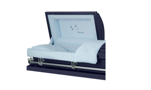Harbor Caskets - The Harbor Ascend. Casket in Dark Blue - Comes with a Rubber Gauge, 18-Gauge or 20-Gauge. Casket has stationary handles, a high gloss finish, and matching interior