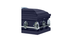 Load image into Gallery viewer, Harbor Caskets - The Harbor Ascend. Casket in Dark Blue - Comes with a Rubber Gauge, 18-Gauge or 20-Gauge. Casket has stationary handles, a high gloss finish, and matching interior
