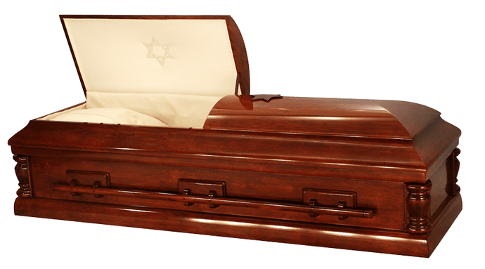 Harbor Caskets - The Harbor Cherry II. 100% wood, All wood Casket made from Cherry Hardwood. Includes wood screws - Suitable for Jewish Funerals.