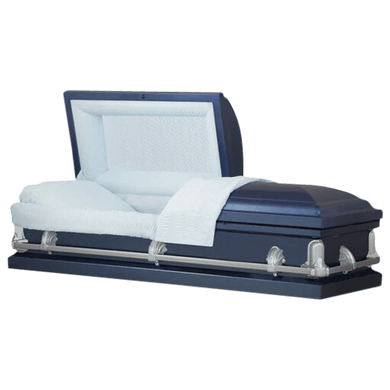 Andover Series | Dark Blue Steel Casket with Light Blue Interior - Titan Casket