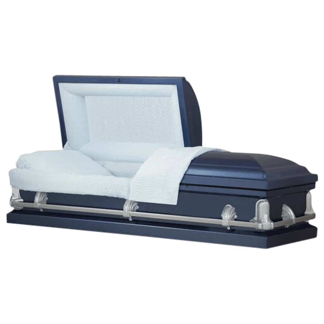 Titan Andover Series | Dark Blue Steel Casket with Light Blue Interior - Titan Casket