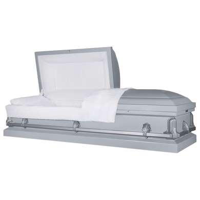 Titan Andover Series | Silver Steel Casket with White Interior - Titan Casket