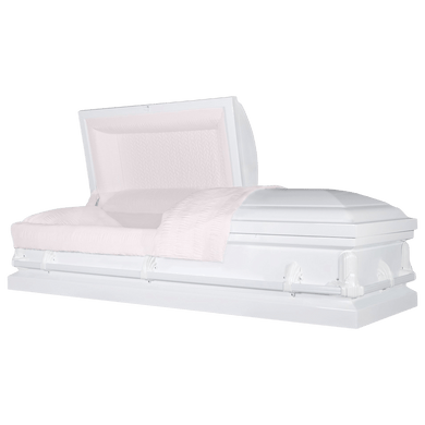 Andover Series | White Steel Casket with Pink Interior - Titan Casket